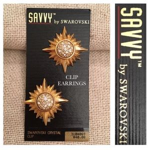 VTG Savvy Swarovski Goldtone Clip Star Sun Earring